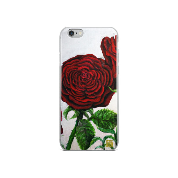 Triple Red Roses, Floral iPhone Case,  iPhone 7/6/7+/ 6 / 6s/ X/XS/ XS Max/XR Case, Made in USA - alicechanart