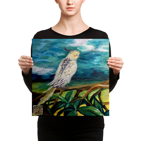 Cockatiel White Parrot Resting On A Tree Branch, Canvas Art Print, Bird Fine Art, Made in USA - alicechanart