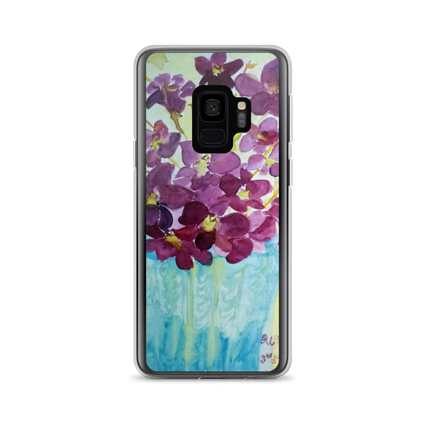 """Curious Exotic Wild Purple Orchids"" Floral Print Samsung Phone Case, Made in USA/EU - alicechanart"