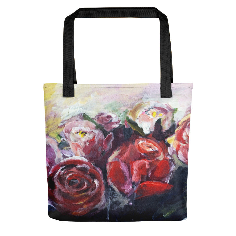 """French Red Roses"", Floral Print, 15""x15"" Designer Fine Art Tote Bag, Made in USA - alicechanart"