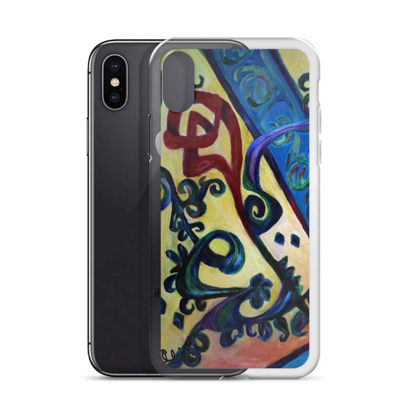 """Red Rose Abstraction of Strength in Arabic"", iPhone 7/6/7+/ 6/6s/ X/XS/ XS Max/XR Case, Made in USA - alicechanart"