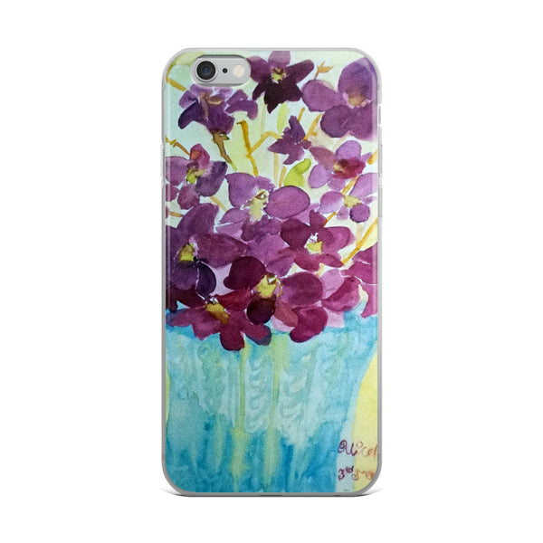 """Curious Exotic Wild Purple Orchids"" Clear Floral  iPhone 7/6/7+/ 6 / 6s/ X/XS/ XS Max/XR Case, Made in USA"