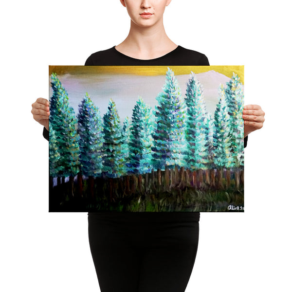"""Trees in Golden Sky"", Pine Trees Mountain Canvas Art Print, Pacific Northwest Art, Made in USA - alicechanart"