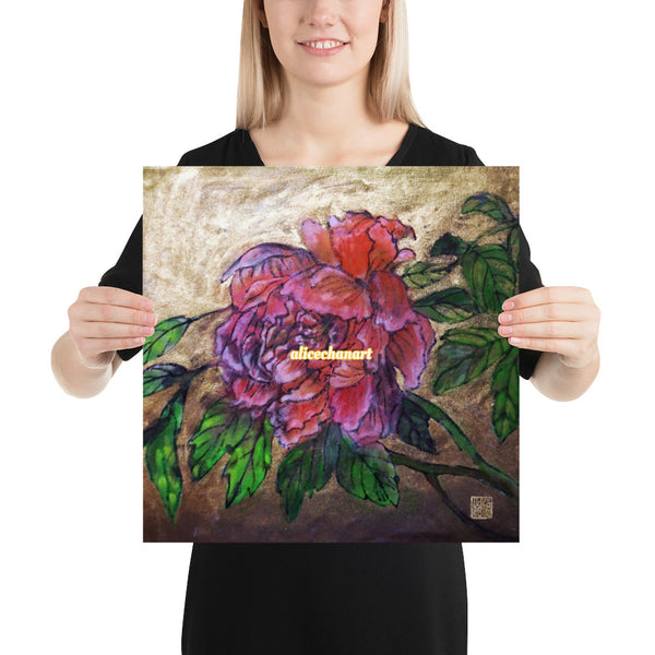 Pink Peony Chinese Floral Art Print Poster, 2019, Made in USA - alicechanart