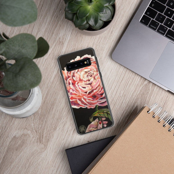 Pink Chinese Peonies Floral Print Designer Samsung Case- Made in USA/ EU - alicechanart Pink Chinese Peonies Samsung Case, Chinese Peony, Floral Print Art Phone Case Samsung Galaxy S7, S7 Edge, S8, S8+, S9, S9+ Phone Case, Made in USA/EU