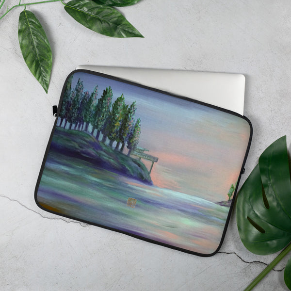 West Seattle-Landscape Art Print Designer Laptop Sleeve - 15 in/ 13 in, Snug Fit Stylish Art Laptop Sleeve-Printed in USA/ Europe