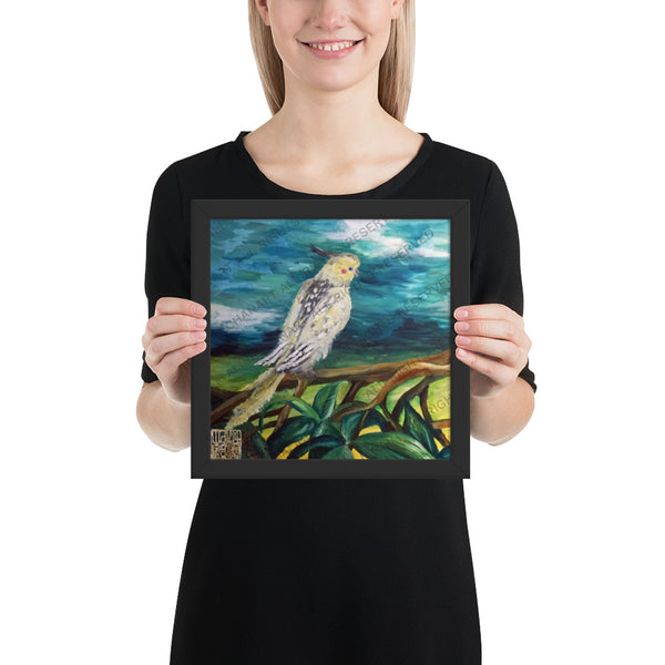Cockatiel White Parrot Resting On A Tree Branch, Framed Poster, Made in USA - alicechanart
