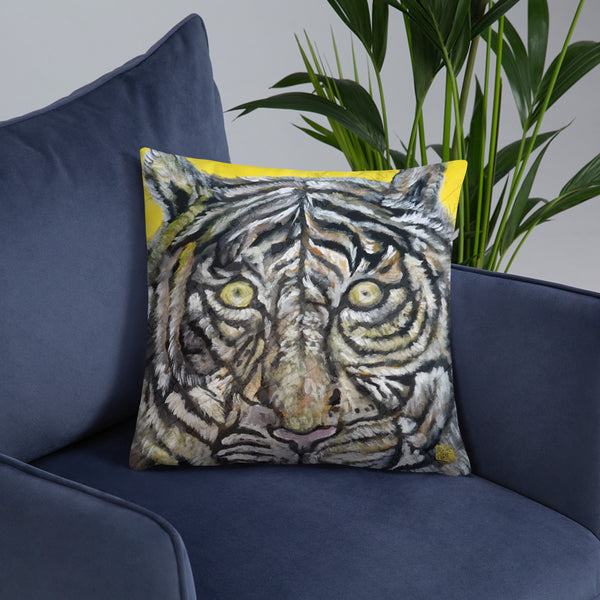 """Blue-Eyed White Tiger"" 2018, 20""x12/ 18""x18"" Designer Animal Basic Pillow With Stuffing, Made in USA"