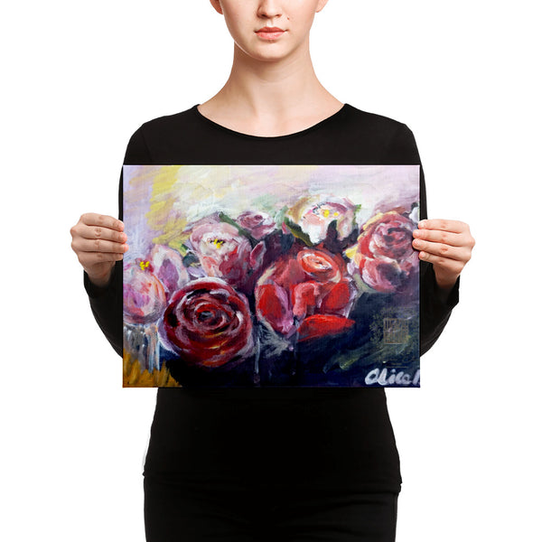 """French Red Roses"", Floral Rose Canvas Art Print Red Rose Flower Fine Art, Made in USA"