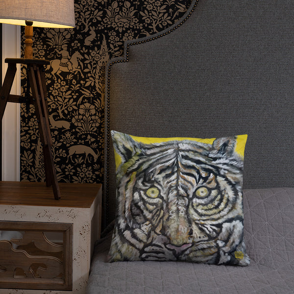 """Blue-Eyed White Tiger"" 2018, 20""x12/ 18""x18"" Pillow With Stuffing, Made in USA - alicechanart"