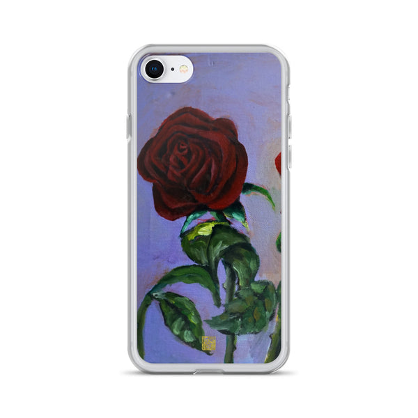 Red Roses in Purple Sky, Floral  iPhone 7/6/7+/ 6 / 6s/ X/XS/ XS Max/XR Case, Made in USA - alicechanart
