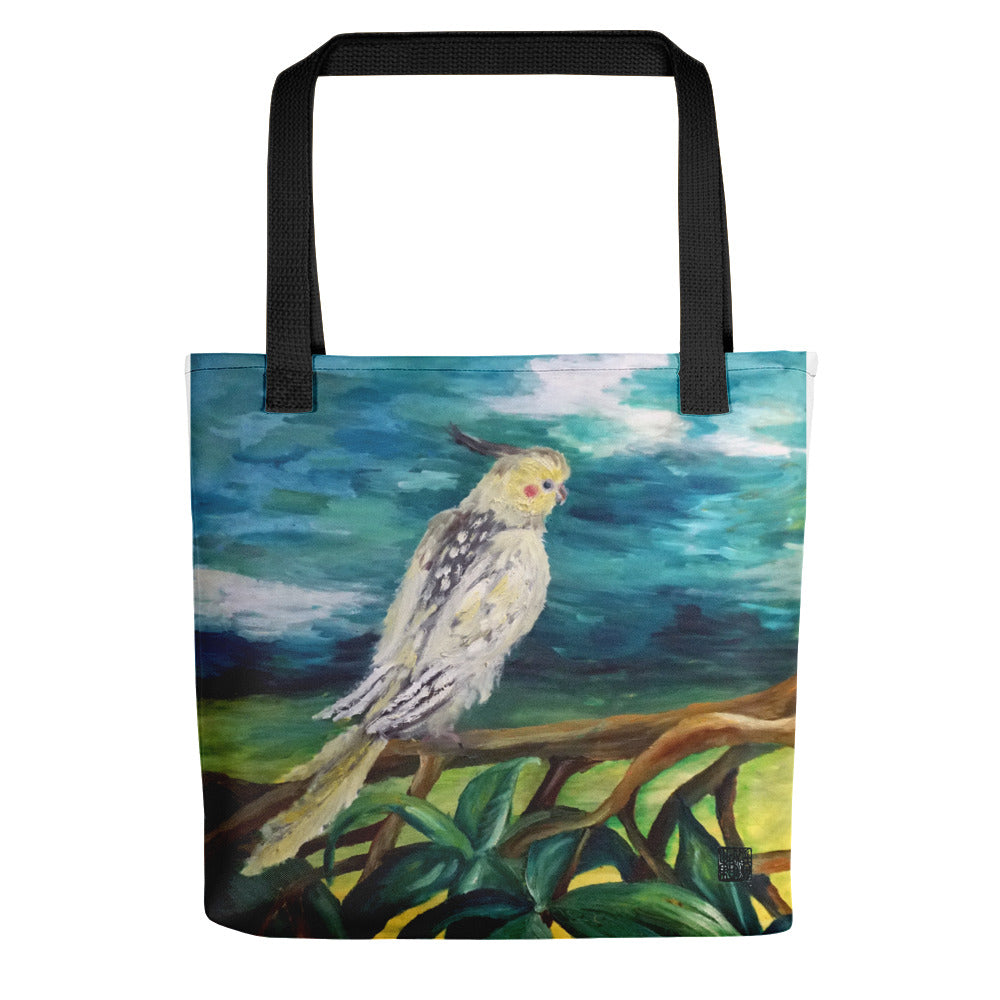 "White Parrot Cockatoo Bird Art Print Designer 15""x15"" Size Tote Bag, Made in USA - alicechanart"