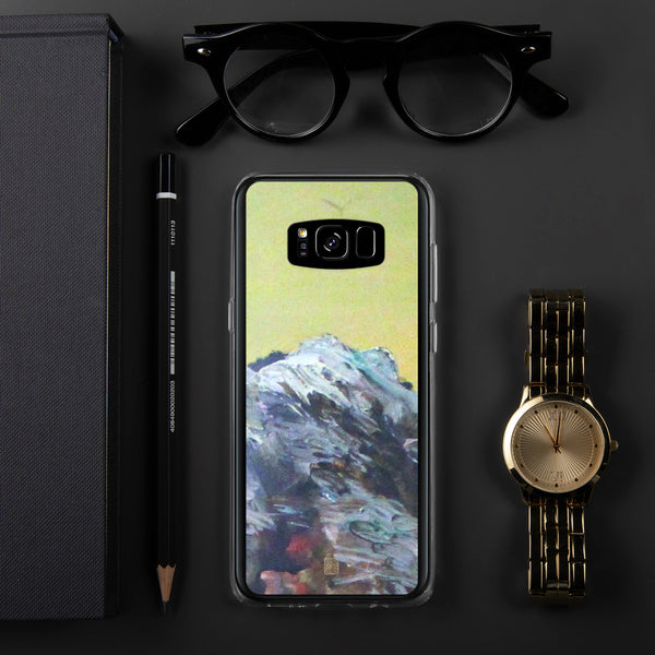 """Mountain Rainier in Yellow Sky"",  Artistic Samsung Galaxy Cell Phone Case, Made in USA - alicechanart"