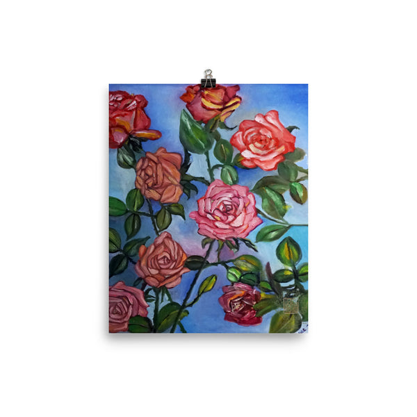 """Pink Roses Floating in Blue Sky"", Poster Art Print, Made in USA - alicechanart"