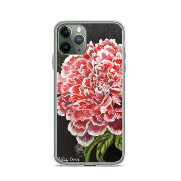Red Peony Floral Print Premium iPhone Red Peonies Phone Case- Made in USA/ EU - alicechanart