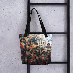"Orchestra of Life 2 of 3, Chinese Ink Abstract Print 15""x15"" Square Art Tote Bag, Made in USA - alicechanart"
