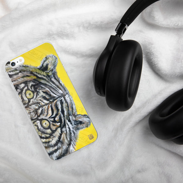 Yellow-Eyed Bengal White Tiger Art iPhone Case-Made in USA, White Tigers Case,Tiger iPhone 7, 8 Case, Tiger Art Phone Case, Tiger Phone Case Orange-Eyed White Bengal Tiger, iPhone 7/6/7+/ 6/6s/ X/XS/ XS Max/XR Case, Made in USA