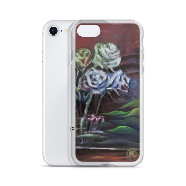 """Ghost Roses"", Floral Print, iPhone 7/6/7+/ 6/6s/ X/XS/ XS Max/XR Case, Made in USA - alicechanart Roses Floral Phone Case, ""Ghost Roses"", Floral Print, iPhone 7/6/7+/ 6/6s/ X/XS/ XS Max/ XR/ 11/ 11 Pro/ 11 Pro Max  Case, Made in USA/EU"
