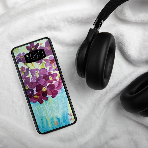 """Curious Exotic Wild Purple Orchids"" Floral Print Samsung Cell Phone Case,  Made in USA - alicechanart"