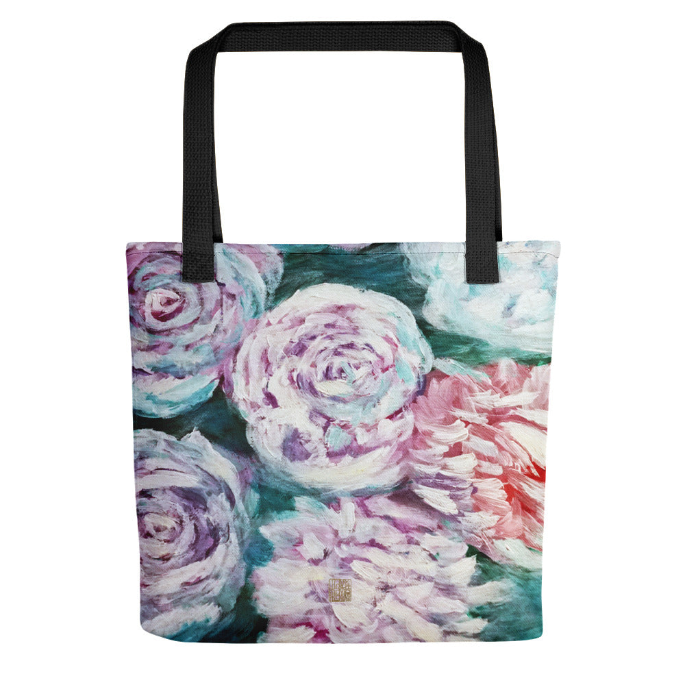 White Roses in Water, Blue White Rose Floral Print Art Tote Bag, Made in USA/ EU - alicechanart