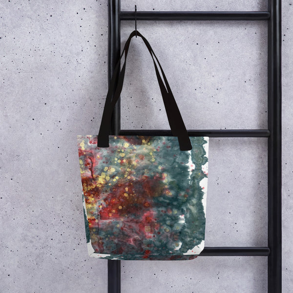 Chinese Ink Black Red Art Abstract Print Market Designer Tote Bag, Made in USA/ EU - alicechanart