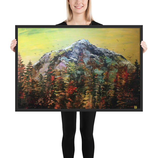 Mount Rainier Framed Art Poster Print, Hiking Travel Washington Art, Made in USA