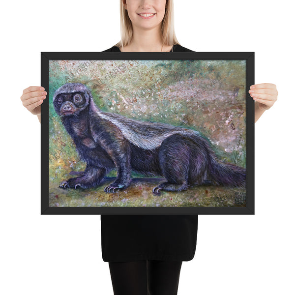 """Jambo - Honey Badger"", 2018, Framed Matte Poster Art Print, Made in USA - alicechanart"