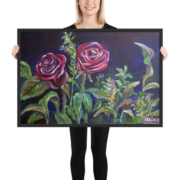 Summer Vampire Rose Floral Framed Drawing Art Print Poster, Made in USA - alicechanart