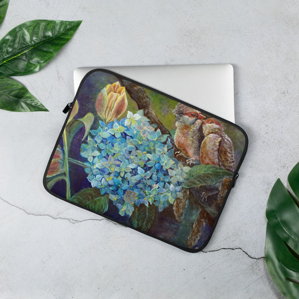 """Morning Chirping Birds"" Cute Floral and Bird Print 13""/ 15"" Art Laptop Sleeve - Printed in USA/ Europe"