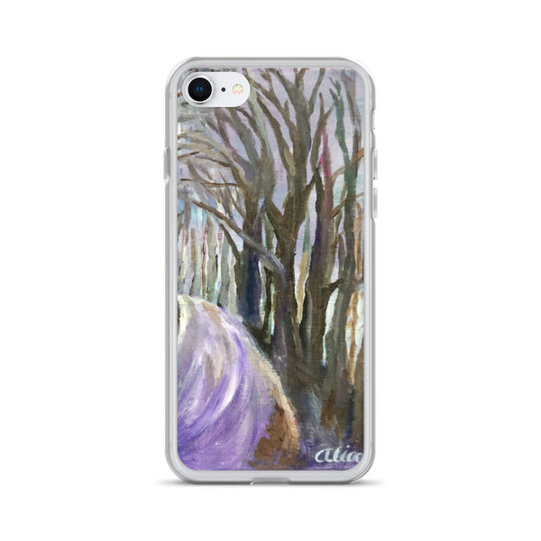 """Purple Hiking Trail"",  Tree Forest Scene, iPhone 7/6/7+/ 6/6s/ X/XS/ XS Max/XR Case, Made in USA - alicechanart"