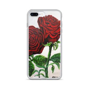 Triple Red Roses in Silver, iPhone Case,  iPhone 7/6/7+/ 6 / 6s/ X/XS/ XS Max/XR Case, Made in USA - alicechanart