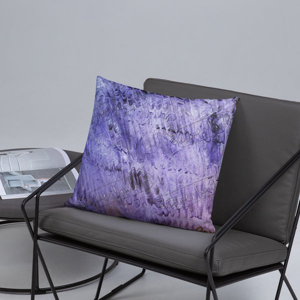 """Purple Mystery Pattern"",  Abstract Modern Art Throw Toss Basic Pillow 18""x18""/ 20""x12"", Made in USA - alicechanart"