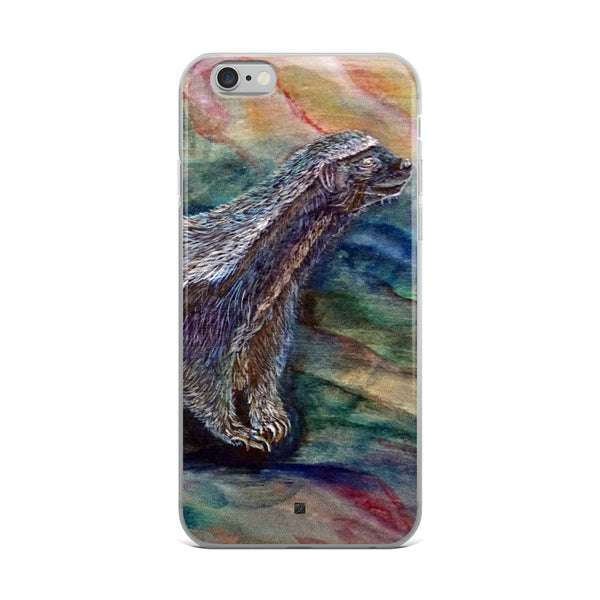 """Honey Badger Chasing the Bee"", Wildlife Bear, iPhone Case, Made in USA - alicechanart"