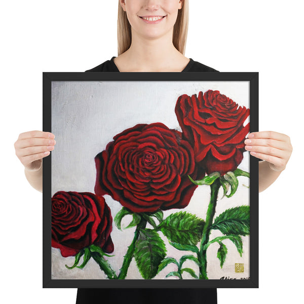 Triple Red Roses in Silver, Framed Art Poster Print, Made in USA