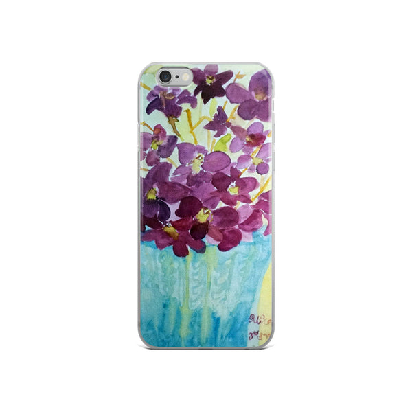"""Curious Exotic Wild Purple Orchids"" Clear Floral iPhone Phone Case, Made in USA - alicechanart"