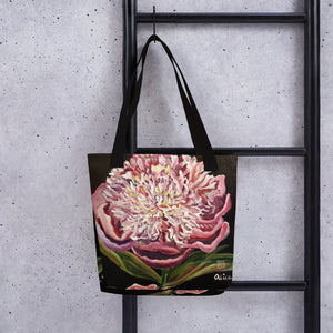 Chinese Peony Hybrid, 2018, Floral Print Market Designer Art Tote Bag- Made in USA/ EU - alicechanart
