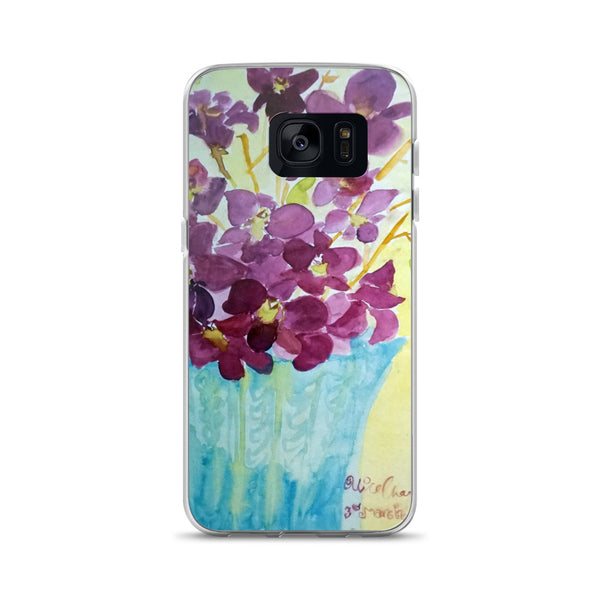 """Curious Exotic Wild Purple Orchids"" Floral Print Samsung Phone Case, Made in USA/EU - alicechanart Purple Orchids Samsung Phone Case, ""Curious Exotic Wild Purple Orchids"" Floral Print Samsung Galaxy S7, S7 Edge, S8, S8+, S9, S9+, S10, S10+, S10e Cell Phone Case, Made in USA/EU"