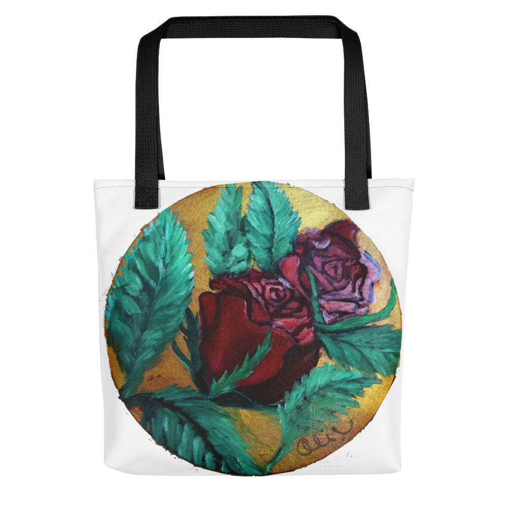 """Red Rose Series Part 1 in Gold"", 15""x15"" Square Tote Bag, Made in USA/ Europe - alicechanart"