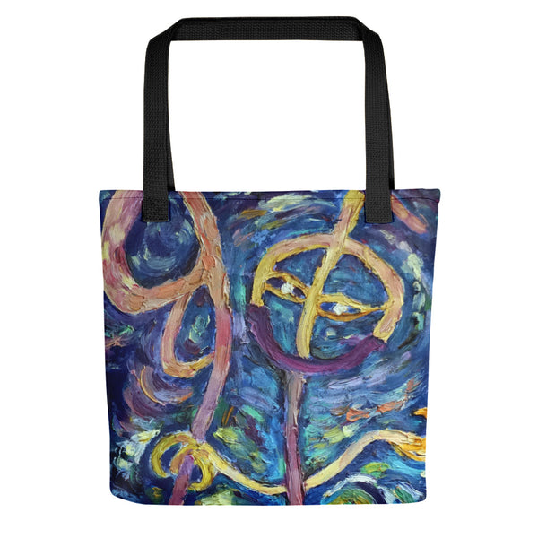 """Chan"" in Chinese"", 15""x15"" Designer Fine Art Tote Bag, Abstract Art, Made in USA - alicechanartChan Family Tote Bag, Chan in Chinese, 15""x15"" Designer Fine Art Tote Bag, Abstract Art, Made in USA/Europe, Blue Smiley Face Tote Bag, Happy Face Cotton Tote Bag"