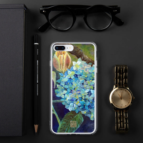 """Morning Chirping Bird"", Blue Hydrangea Orange Tulips Floral Print iPhone Case - alicechanart"