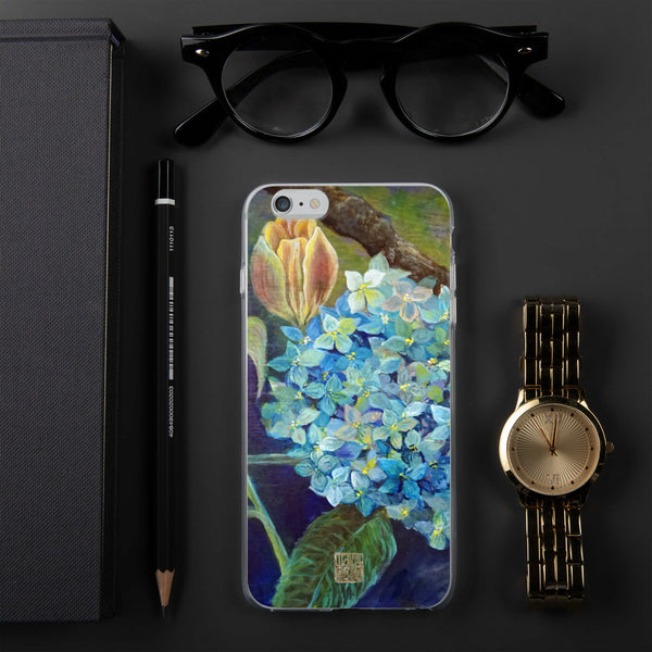 """Morning Chirping Bird"", Blue Hydrangea Orange Tulips Floral iPhone 7/6/7+/ 6 / 6s/ X/XS/ XS Max/XR Case, Made in USA"