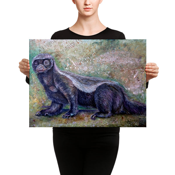 """Jambo - Honey Badger"", 2018, Badger Wildlife Artwork, Canvas Art Print, Made in USA"