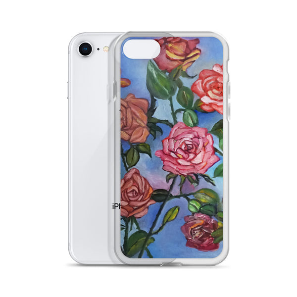 """Pink Roses Floating in Blue Sky"", Floral Print Art iPhone Cell Phone Case, Made in USA - alicechanart"