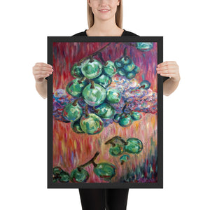 """Falling Green Grapes From The Red Hot Sky"", Framed Poster, Made in USA - alicechanart"