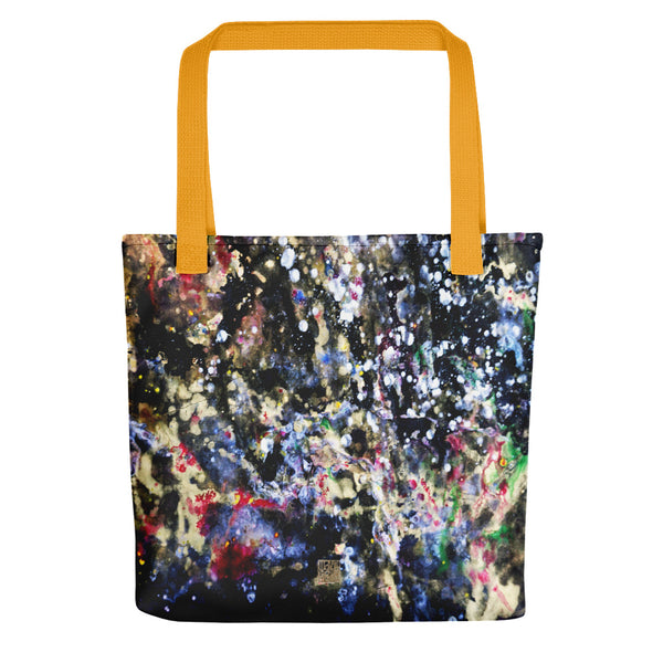 "The Golden Galaxy of Life's Forces, Abstract Art Market 15"" Tote Bag- Made in USA/ EU - alicechanart"