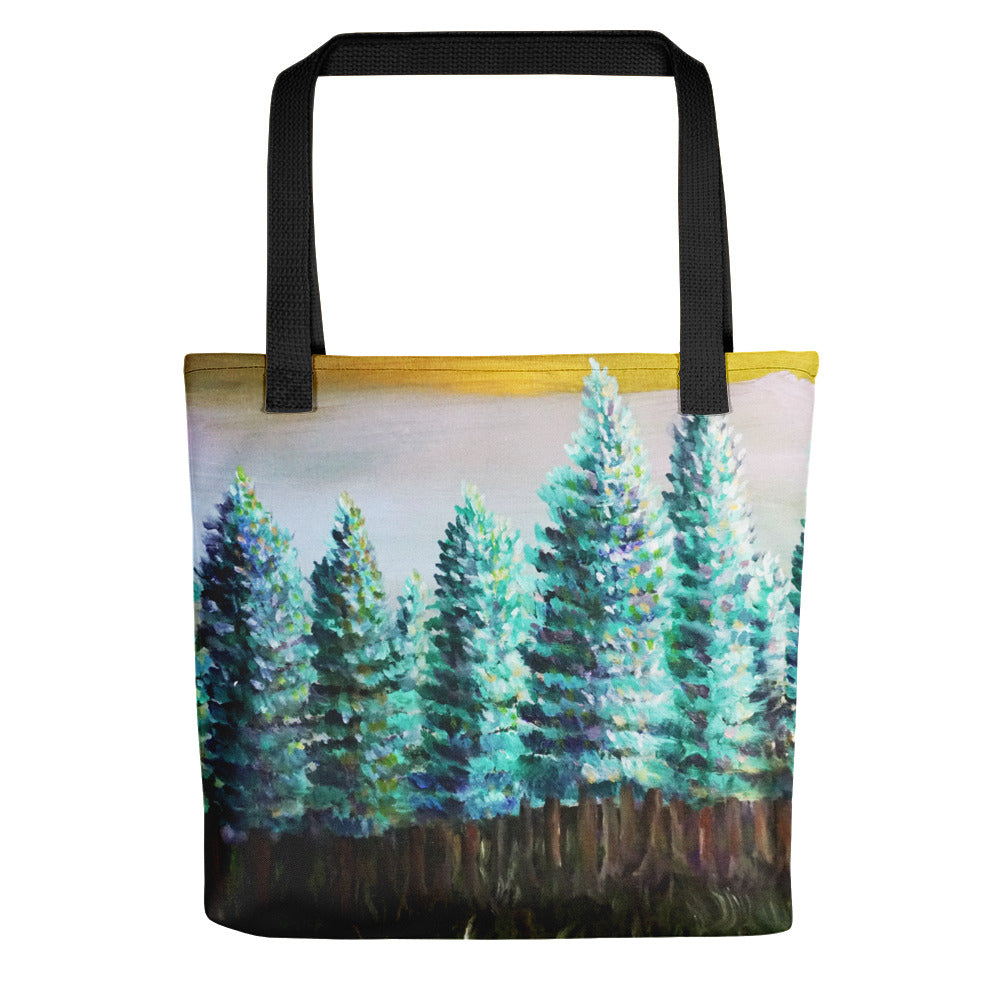 """Trees in Golden Sky"", 15""x15"" Pine Trees Landscape Print Tote Bag, Made in USA - alicechanart"