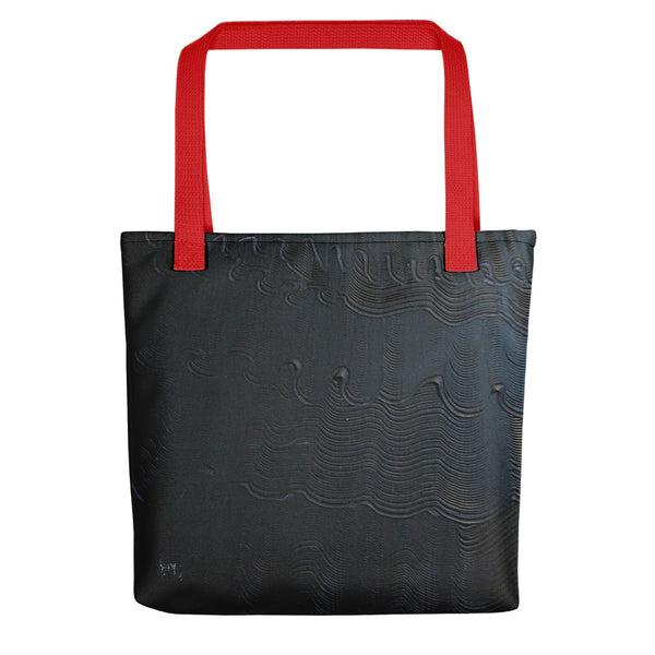"Black Mystery, Modern Minimalist Abstract Art Market 15""x15"" Tote Bag, Made in USA/EU - alicechanart"