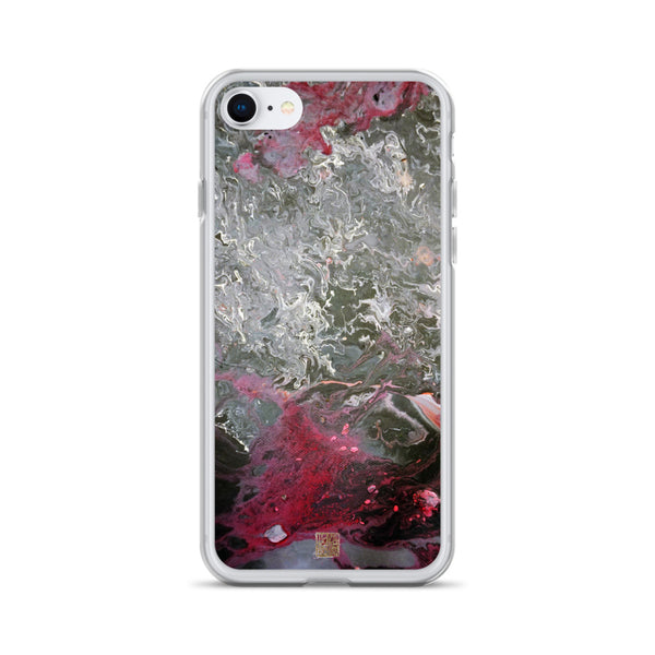 Grey Landscape iPhone Case, Abstract Art iPhone 7/6/7+/ 6/6s/ X/XS/ XS Max/ XR/ 11/ 11 Pro/ 11 Pro Max Phone Case, Made in USA/EU