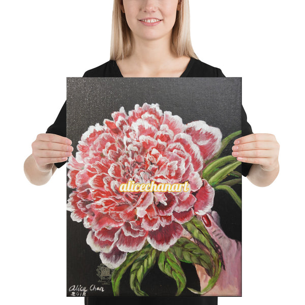 Red Chinese Peony, 2018, Canvas Art Print, Made in USA - alicechanart