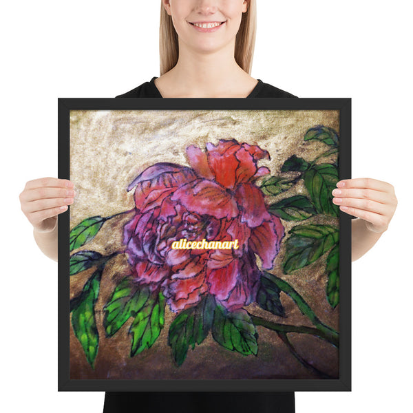 Pink Peony Chinese Floral Art Framed Poster Print, 2019, Made in USA